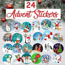 24 Advent Calendar Stickers Boys or Girls Countdown to Christmas