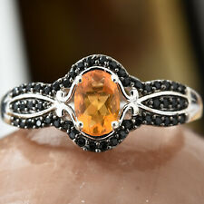 Salamanca Fire Opal, Thai Black Spinel Black Rhodium & Platinum Over SS ring 10