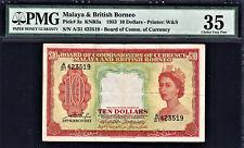 Malaya & British Borneo 10 Dollars 1953 QEII Pick-3a Very Fine PMG 35 Rare