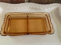 Vintage Orange Amber Glass Rectangular Divided Candy Nut Dish Dresser Tray EUC