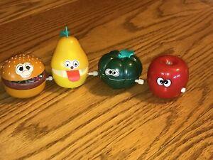 Vintage Wind Up Toys Food Hamburger Apple Pear Pumpkin