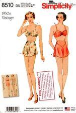 Simplicity Sewing Pattern 8510 Womens Vintage Bra Pants Underwear Sizes 12-20
