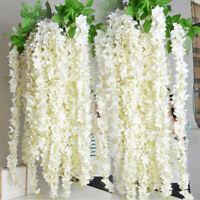 10Pcs Artificial Fake Flowers Wisteria Vine Ratta Hanging Garlands Wedding Decor