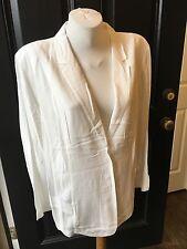 New $119 Chico's Antique White Knit-Back Summer Blazer Jacket 3 = XL 16/18 NWT