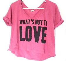 FOREVER 21 GIRLS LOVE PINK CROPPED TOP M Womens Juniors Shirt  Heart I LOVE H81