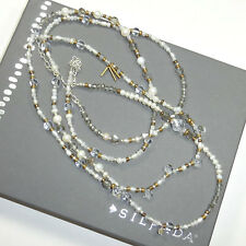 Silpada Pearl Crystal Brass Sterling Silver Long Stardust Necklace N3348 NEW NIB