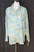 e1c8ba5a2af Vintage KORET FRANCISCA Casual Top Blouse Button Front White Blue Aqua  Floral XL