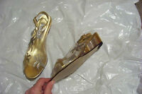 womens vTg amanda jade clear gold & silver wedge heels shoes size 7 1/2