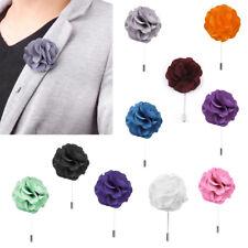 Mens Handmade FLOWER Tie Lapel Pin Stick BOUTONNIERE Wedding Tuxedo Corsage