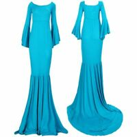 1X(New Style Maternity Photography Maxi Gown Dress Off Shoulder Long Ruffle@S7V4