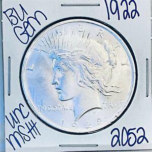 1922 BU GEM SILVER PEACE DOLLAR COIN #2052 FREE SHIPPING UNC MS+++