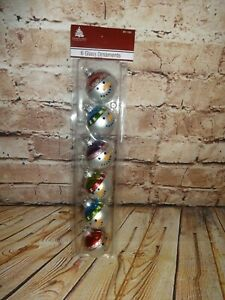 """Enchanted Forest 6 Glass Ornaments Snowman Heads Faces 1.75"""" 2017 Sealed"""