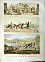 Original Old Antique Print 1891 Colour Horses Hunting Barouche King George 19th