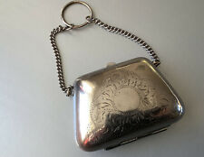 PRETTY OLD SILVER EPNS COIN PURSE ON CHAIN ANTIQUE