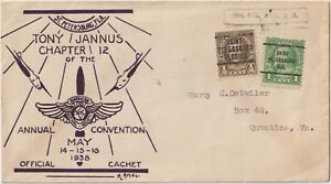 UNITED STATES 1938 OFFICIAL CACHET TONY JANNUS CHAPTER OF THE ANNUAL CONVENTION