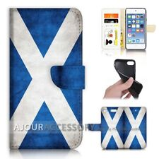 ( For iPod Touch 6 ) Wallet Flip Case Cover AJ40006 Scotland Flag
