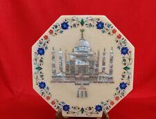 "18"" White Marble Table Top Coffee Semi Precious Stones Inlay Work Taj Mahal"