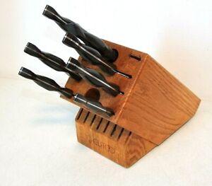 CUTCO 7-Piece Gallery KNIFE SET in Deep Honey Oak Wood KNIFE BLOCK
