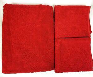 NEW 3 PCS SET NATORI IMPERIAL RED DRAGON EMBOSSED COTTON,BATH,2 HAND TOWEL