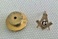 Vintage Small Gold Lapel Square & Compass Masonic Masons F&AM Fraternity