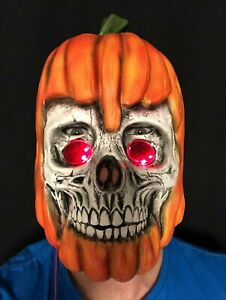 Effrayant Citrouille Masque LED Jack O Lantern Crâne Accessoire Halloween Orange