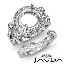 Diamond Engagement Ring Round Semi Mount Bridal Set 18k Gold White 1.45Ct