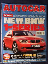 AUTOCAR Magazine 11th June 2003 BMW 1-Series