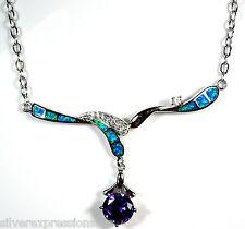 "Beautiful Amethyst & Blue Fire Opal Genuine 925 Sterling Silver Necklace 18"""