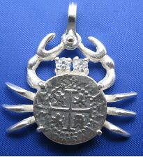 Sterling Silver .925 Pirate Spanish Treasure Shipwreck Coin Crab CZ Eyes Pendant
