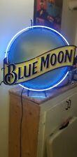 Vintage Neon Sign Blue Moon Beer bar lamp Ul wall light hand blown glass