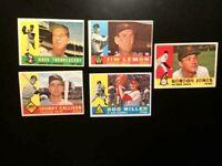 1960 TOPPS 5 NM-MT HI-END BASEBALL CARDS SHARP CORNERS-FREE SHIPPING-PSA READY