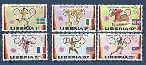 LIBERIA  591-596;599-604 - USED- 1972 - MUNICH OLYMPICS, APOLLO 16 MOON MISSION