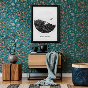 'Eden' Floral Leaves Wallpaper in Greeny Blue, Red and Yellow