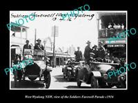 OLD LARGE HISTORIC PHOTO OF WEST WYALONG NSW, WWI SOLDIERS PARADE c1916