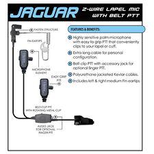 Earphone Connection JAGUAR Surveillance Earpiece for Kenwood NX TK (See List)