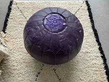 Moroccan Dark Purple Hand Stitched Leather Pouffe- Stuffed