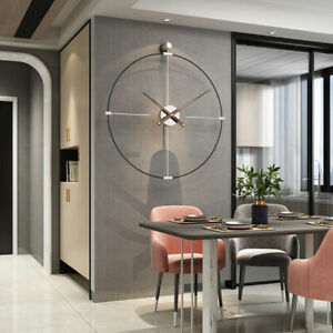 NEW Minimalist Metal Iron Silent Large Wall Clock Iron Modern Design Home Décor
