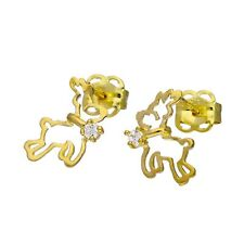 9ct Gold & Clear CZ Crystal Flying Reindeer Outline Stud Earrings Xmas Rudolph