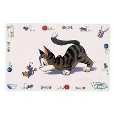 Trixie Comical Cat Feeding Bowl Place Mat - Non-Slip Plastic, 44 x 28 cm - White