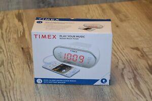Brand New TIMEX PLAY YOUR MUSIC Stylish Mirror Finish Dual Alarm AM/FM Clock...
