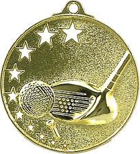 Gold Golf star series 50mm Diameter Medal Inc Neck Ribbon / Engraving