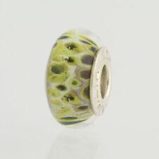 NEW Chamilia Murano Glass Bead Charm - Sterling Silver Green Spot Design
