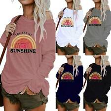 Womens Ladies One Shoulder Blouse Pullover Long Sleeve Casual Baggy Jumper Tops