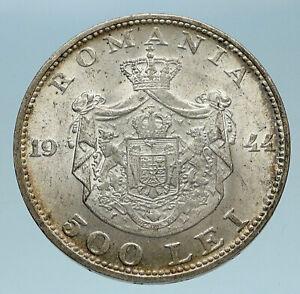 1944 ROMANIA Michael I Antique Genuine OLD Silver 500 LEI Romanian Coin i83256