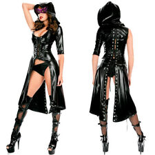 Sexy Bodysuit Latex Leather Costume Women Gothic Dress Hooded Cosplay Clubwear