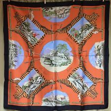 HERMES La Chasse en Afrique Scarf 100% Silk 90 x 90cm France Orange Black Tiger