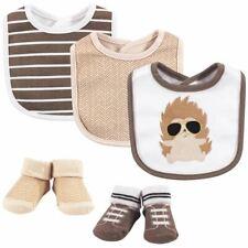 Hudson Baby Boy 5pc Bib & Sock Set, Mr. Hedgehog, 0-9 Months