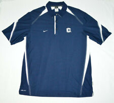 UConn Huskies Nike Dri Fit Navy Blue Athleisure Golf Polo Embroidery Shirt Men L