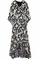 New 2018 Alice + Olivia Agnes Floral Ruffled Black Crepe Long Maxi Gown Dress 0