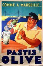 Original Vintage 30s Pastis Olive Poster by Marc - 1939